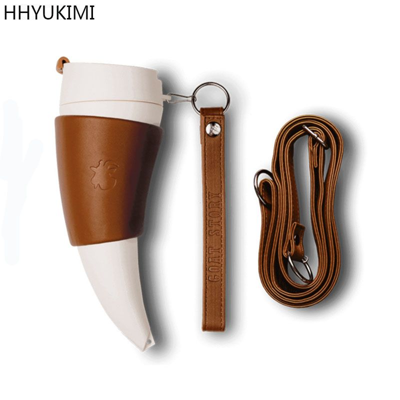 HHYUKIMI Stainless Steel Goat Horns Thermos Mug Coffee Cup Insulation Vacuum Flask Couple Traveling Hot Water Bottle