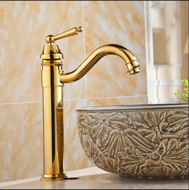 Free Shipping High Arch New Deck Bathroom Basin Sink Mixer Tap Polished Antique/Gold Faucet Waterfall Faucet Bathroom Faucet