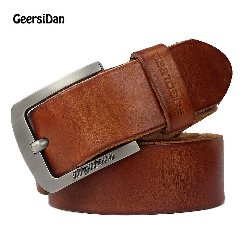 GEERSIDAN New luxury brand designer high quality genuine leather men belt vintage wide pin buckle belt for men male jeans strap
