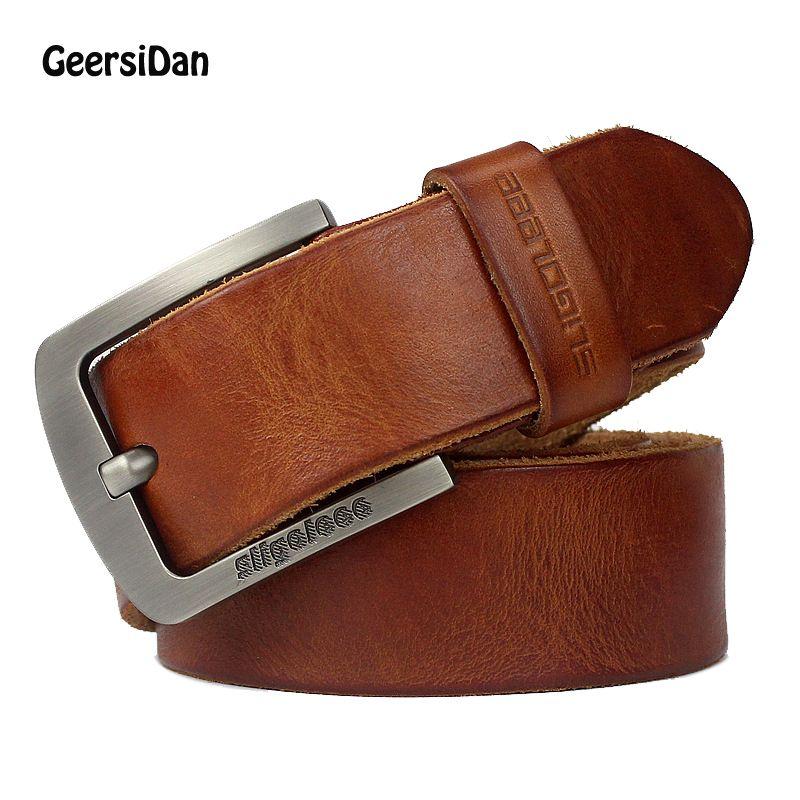 GEERSIDAN Nouvelle de luxe concepteur de marque de haute qualité en cuir véritable hommes ceinture vintage large boucle ardillon ceinture pour hommes mâle jeans sangle
