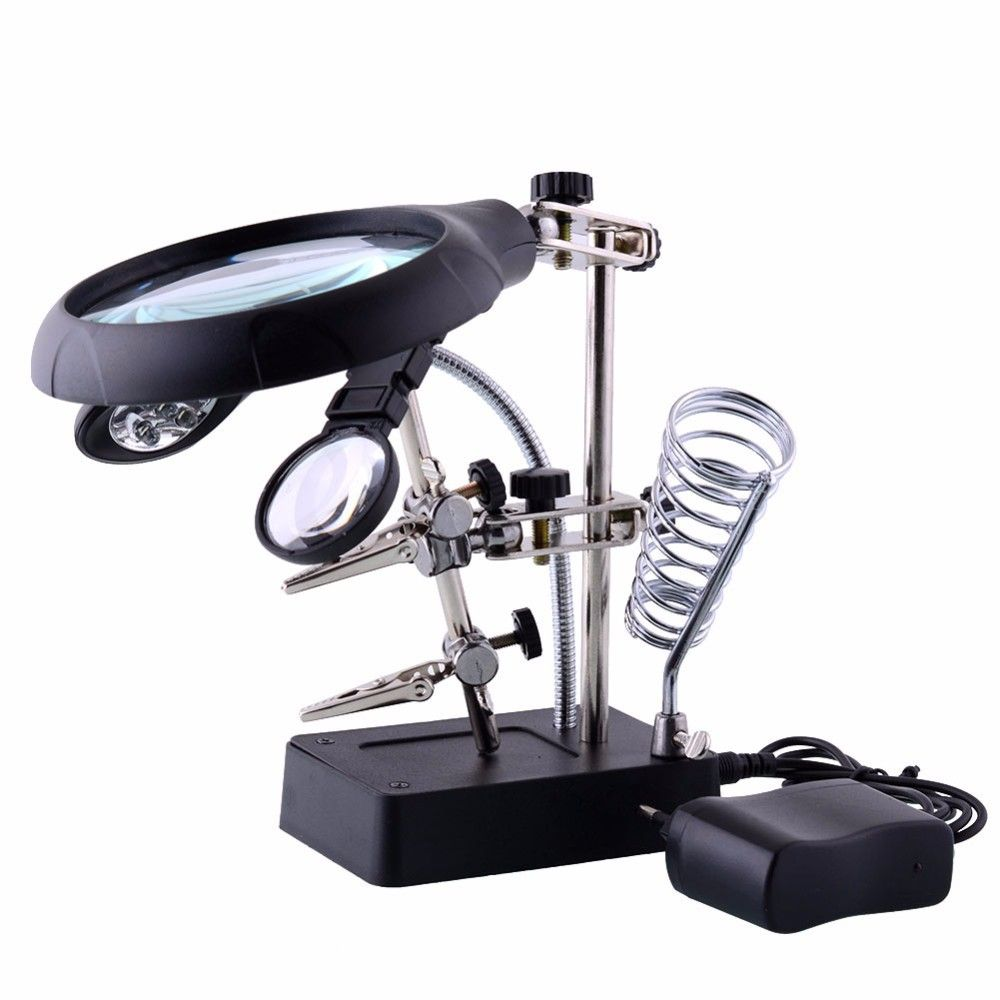 Welding magnifying glass 5 LED Light Auxiliary Clip loupe Magnifier 3 In1 Hand Soldering Solder Iron Stand Holder Station