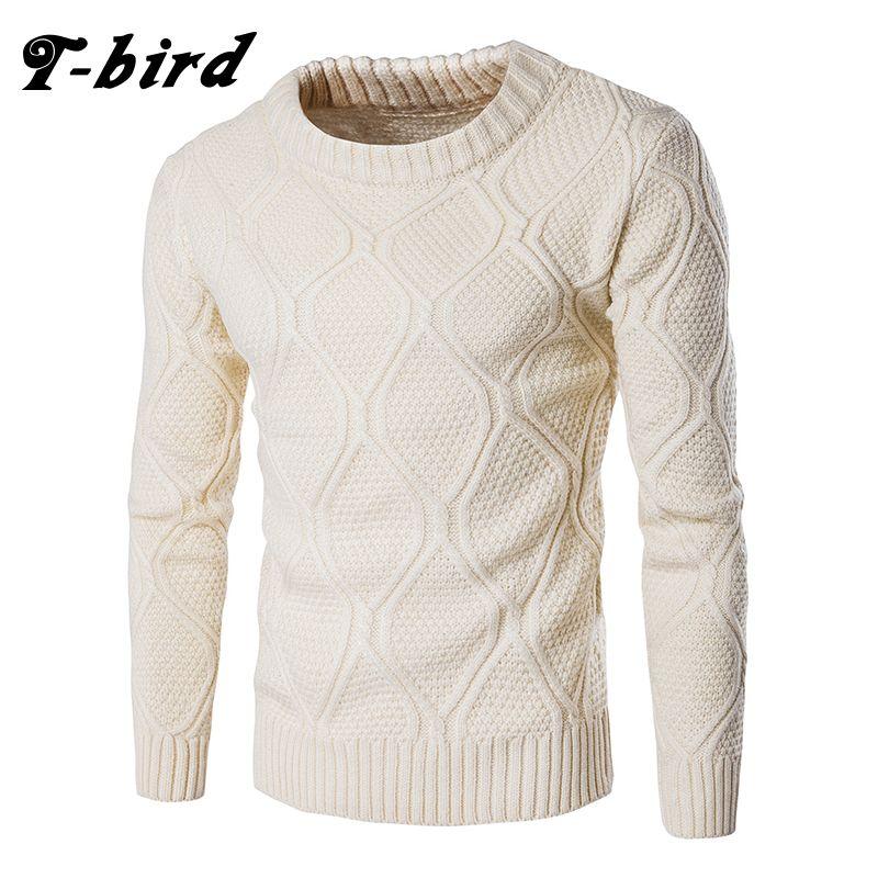 T-bird Sweater Men Woolen Knitwear Men O neck Long Sleeve Slim Warm Sweaters Grometric Pull Homme  Beige  Pulllvers Knitwear