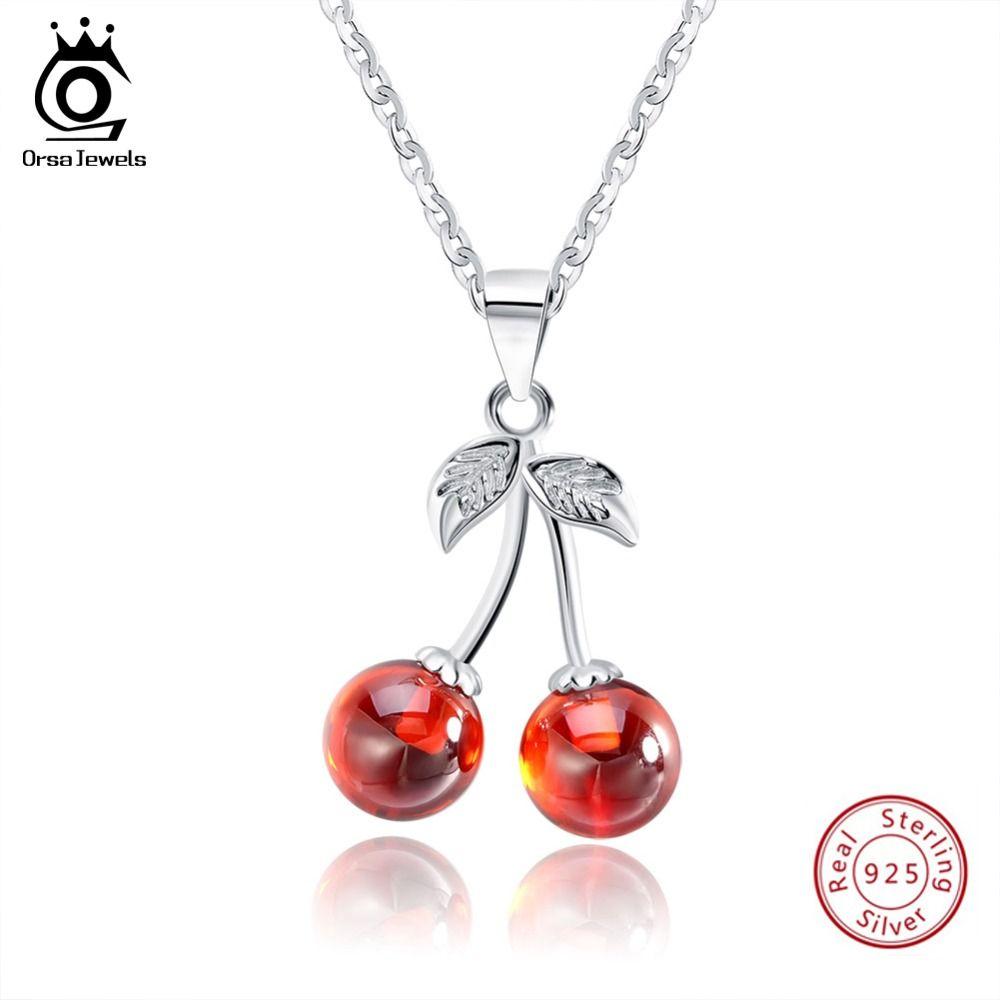 ORSA bijoux 925 argent Sterling rouge pierre naturelle cerise pendentif colliers pour femmes véritable argent bijoux collier cadeau SN03