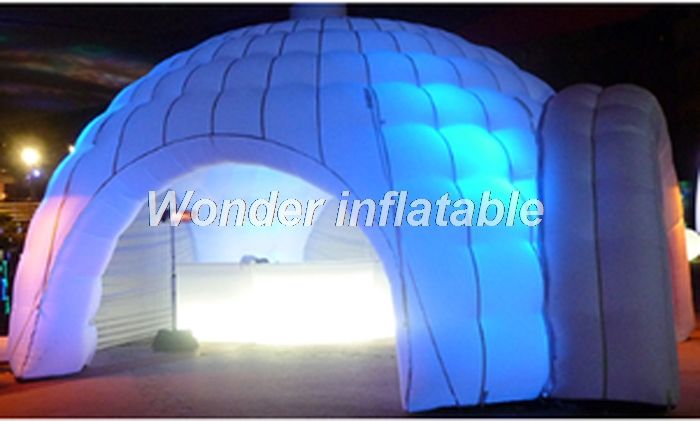 2018 hot sale 8m Led inflatable dome tent wedding tent inflatable igloo tent with 4 entrances