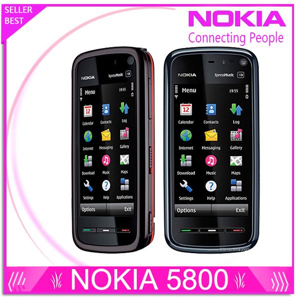 Refurbished Unlocked Phone Nokia 5800 xpressmusic 3.15MP Camera GPS Wifi FM radio Bluetooth One year warranty Free shipping