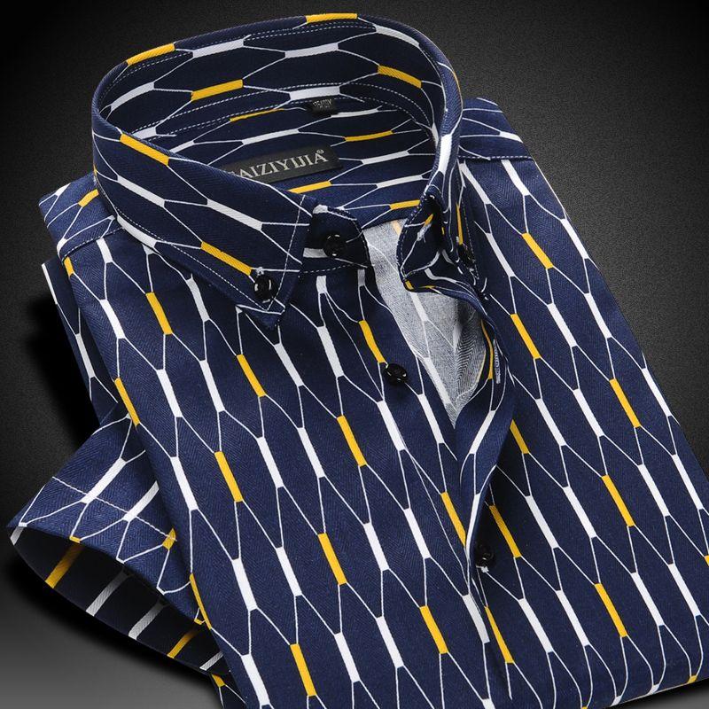 Men's Tops Contrast Argyle Plaid Short-sleeve Thin Shirts Comfortable Soft 100% Cotton Smart Casual Slim-fit Button-down Shirt