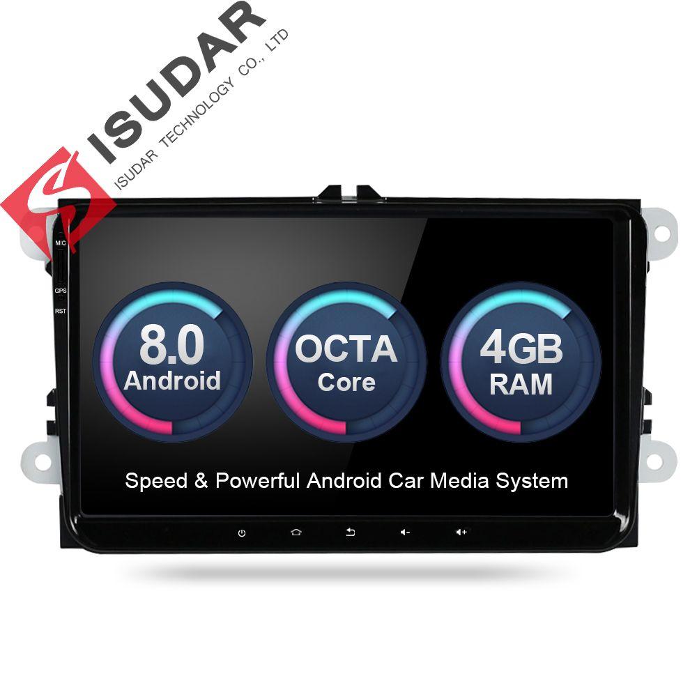 Isudar Car Multimedia player Android 8.0 GPS 2 Din Stereo System For Volkswagen/VW/POLO/PASSAT/Golf/Skoda/Octavia/Seat/Leon DSP