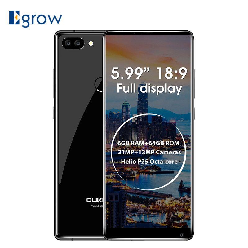 OUKITEL MIX 2 4g Smartphone 5,9 ''18:9 Volle Bildschirm Android 7.0 Helio P25 MTK6757 6 gb RAM 64 gb ROM 21MP + 13MP 4080 mah Handy