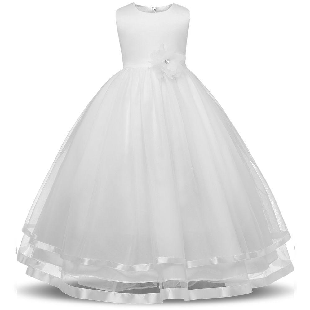Filles Robes D'été 2017 Filles Robe De Mariage De Partie pour Les Adolescents Fille Vêtements Enfants Blanc Sans Manches Princesse Robe avec Bow