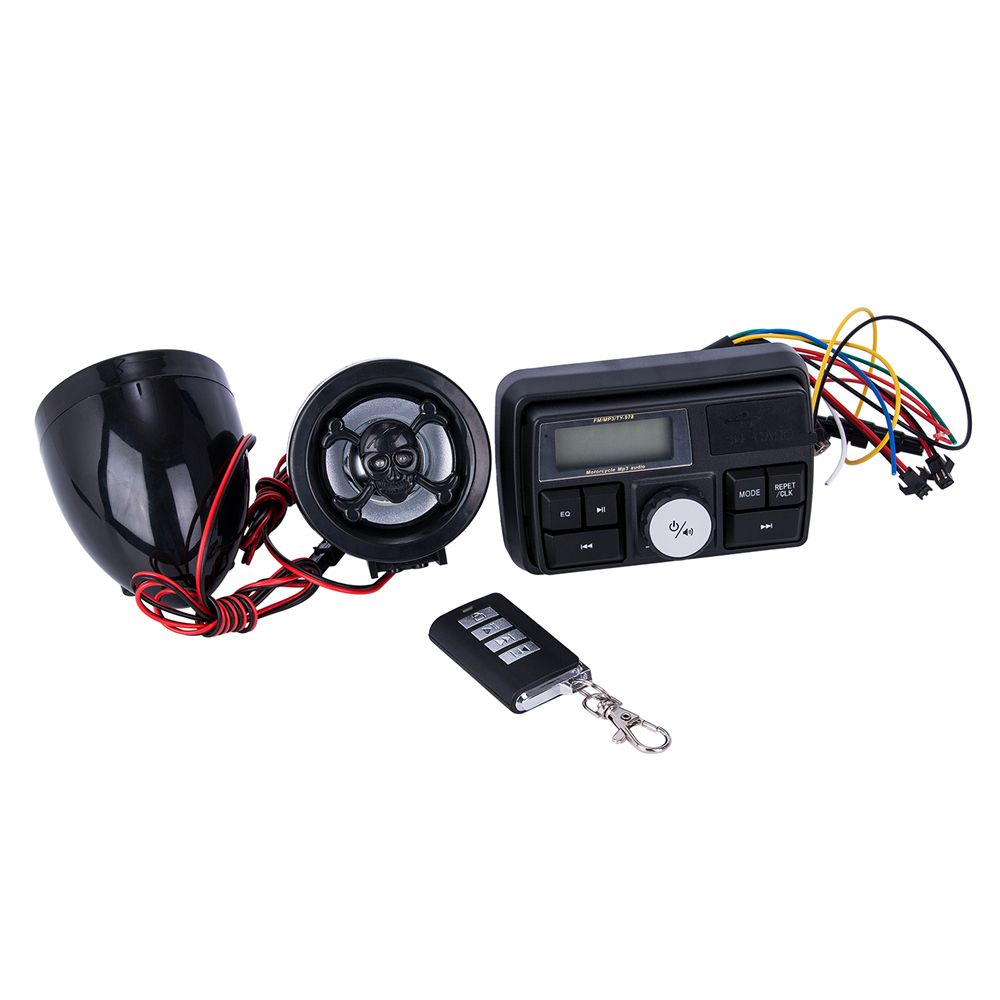 Motorcycle Handlebar Car Audio FM TF MP3 USB/SD Handle Bar Stereo 2 Speakers Amplifier Sound System Alarm Motorbike Anti-Theft