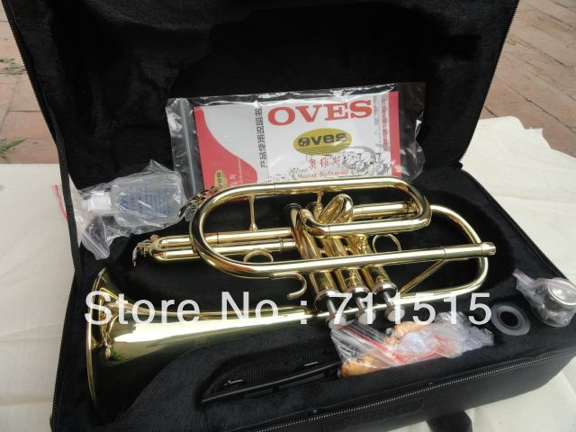 OVES Hot Selling Students B the Cornet Trumpet Instrument Brass Gold Lacquer Trompeta with Nylon Case