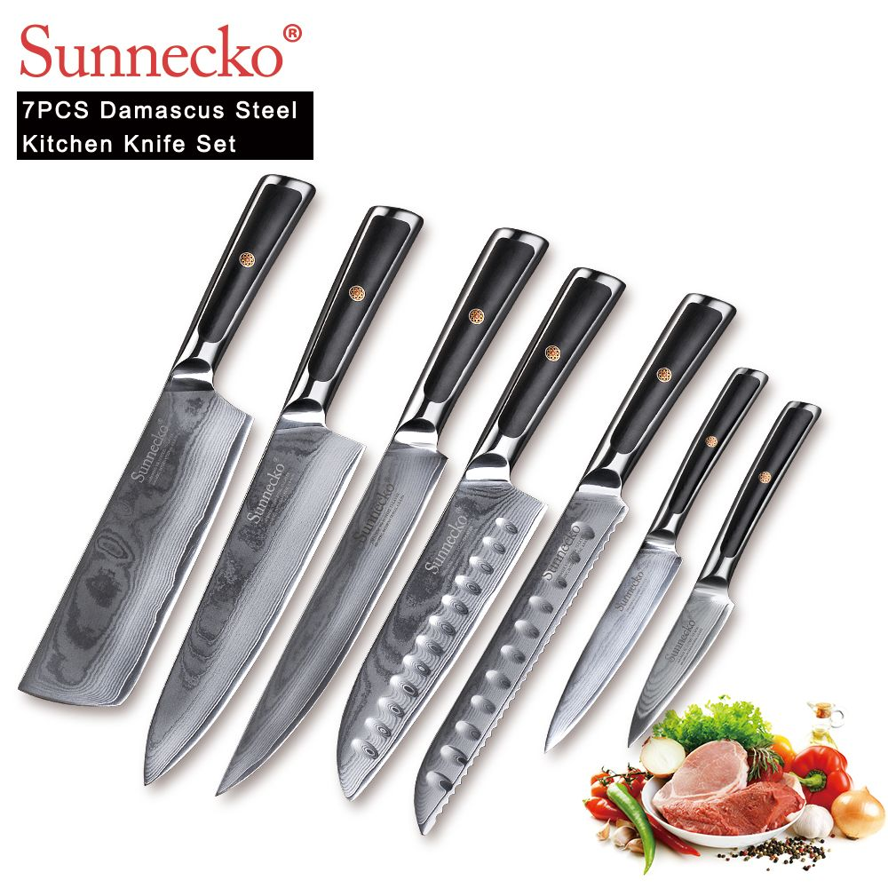 SUNNECKO 7 PCS Küchenmesser Set Chef Slicer Utility Cleaver Messer Japanischen Damaskus VG10 Stahl Sharp G10 Griff Schneiden Werkzeuge