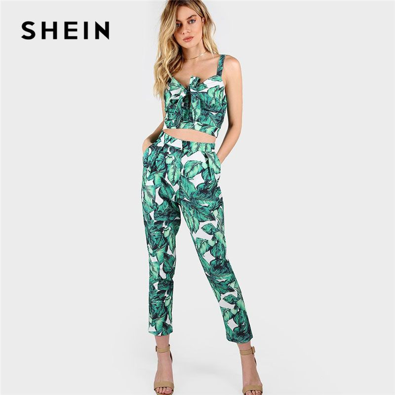 SHEIN 2018 New <font><b>Front</b></font> Tie Leaf Print Crop and Matching Pants Set Women V neck Pocket Straps Sleeveless Tropical 2 Pieces Sets