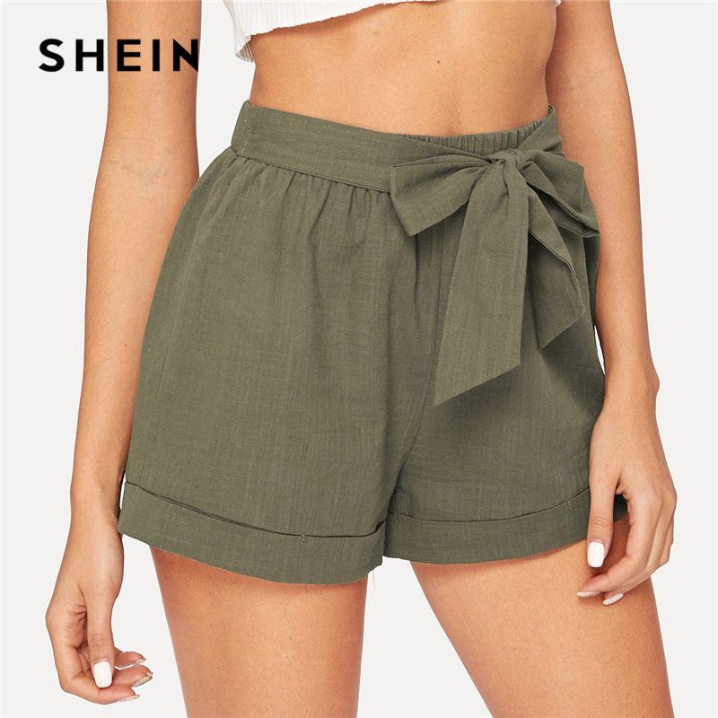 SHEIN auto ceinture taille élastique Shorts Fitness Swish femmes armée vert solide taille moyenne Shorts 2019 mode été Shorts