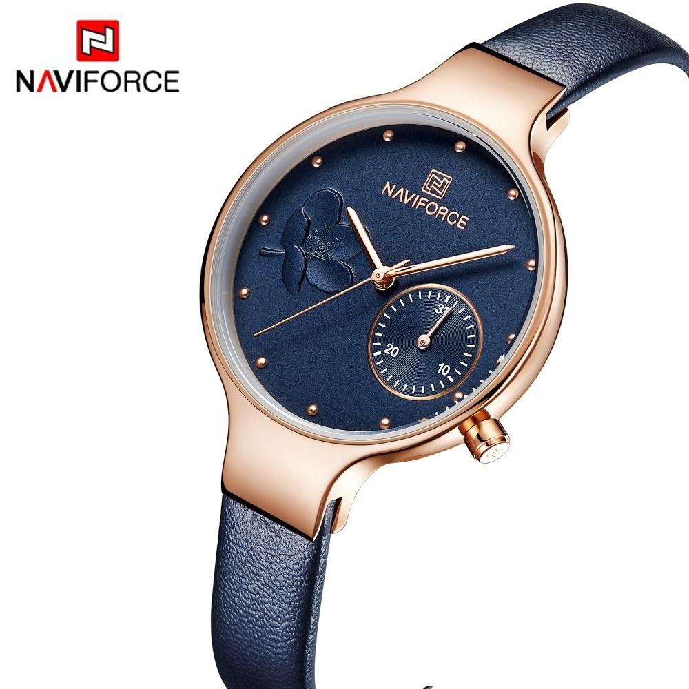 NAVIFORCE Frauen Mode Blau Quarzuhr Dame Leder Armband Hohe Qualität Beiläufige Wasserdichte Armbanduhr Geschenk für Frau 2019