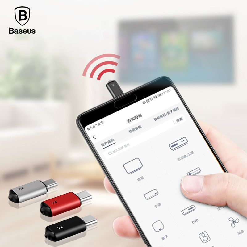Baseus Mini Keychain Remote Control For Samsung Huawei Type-C USB C Interface Smart IR <font><b>Controller</b></font> Adapter For TV aircondition