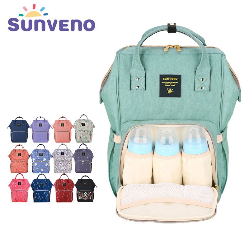 New Upgraded Sunveno Fashion Mummy Maternity Nappy Bag Large Capacity Baby Bag Travel Backpack Designer Nursing Bag Baby Care