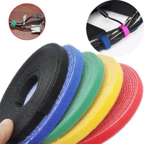 Reutilizable colorido 1 cm * 25 metros Espalda con Espalda Hook Loop Cable Ties, Administración de Energía de Cables de Nylon Magia cinta Sticks