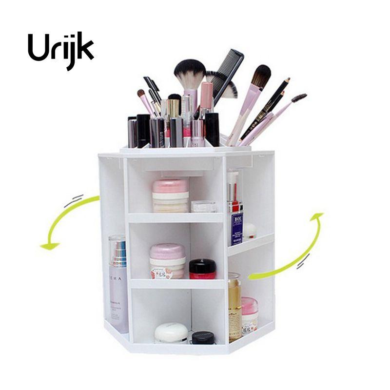 Urijk 360 градусов вращающийся Пластик Коробка Для Хранения Чехол Органайзер для косметики стоять контейнер Макияж коробка для хранения для юв...