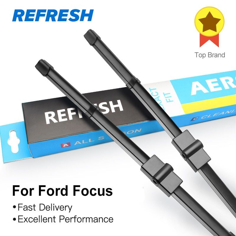 REFRESH Wiper Blades for Ford Focus Mk2 / Mk3 Fit <font><b>Side</b></font> Pin / Push Button Arms Model Year from 2004 to 2017 (International Model)