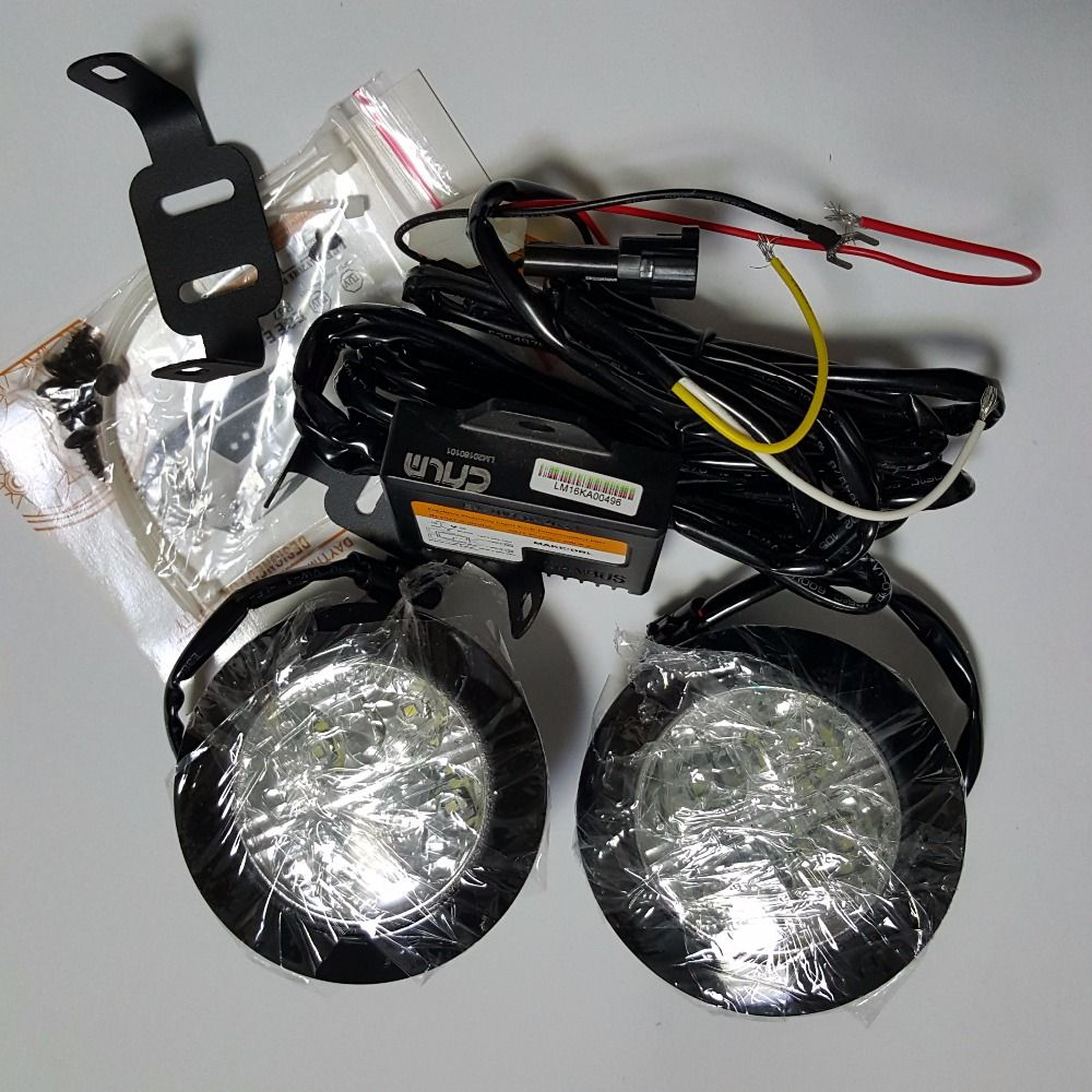 CNLM 2X car drl Circle Round Daytime Running Light front daylight 4 LED fog lamp waterproof dimmer flash E4 R87 ECE RL00