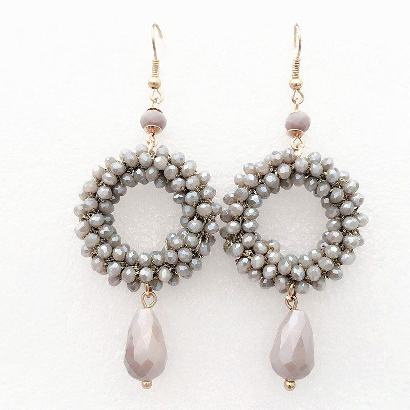 Boucles d'oreilles longues en cristal de style Baroque pour femmes pendentif goutte oorbellen fait à la main 2018 bijoux de mode fête cadeau de noël
