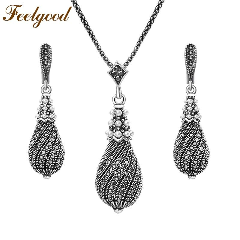 Feelgood Individuality Silver Color Vintage Jewelry Set Full Black Rhinestone Paved Water Drop Earrings And Necklace Sets