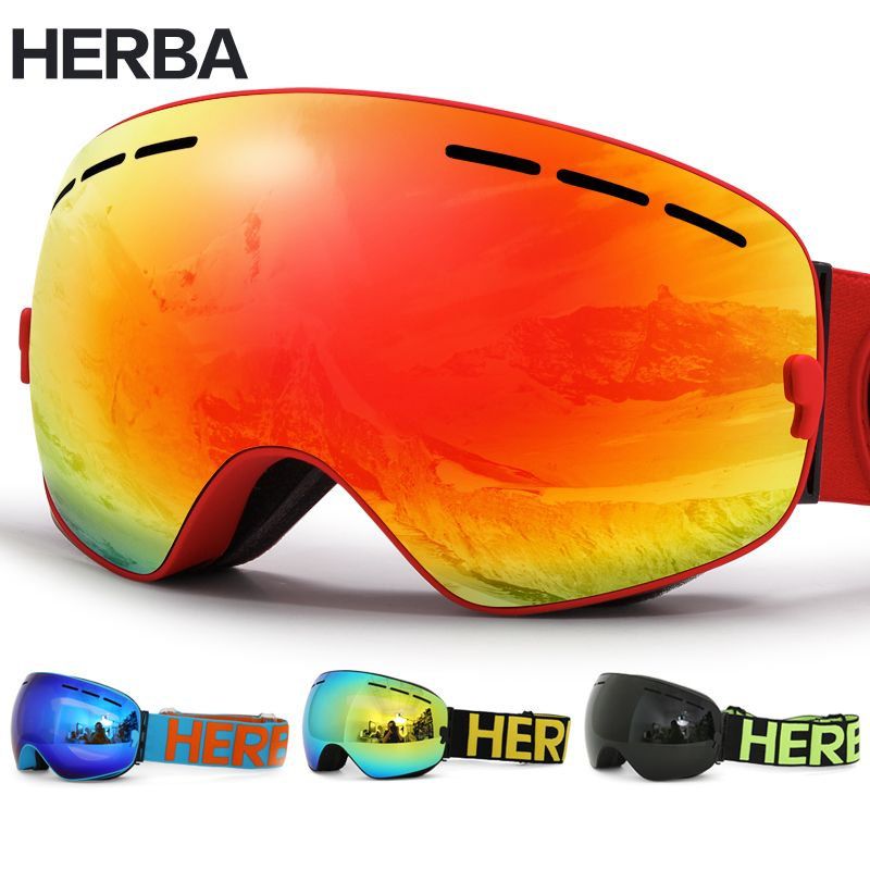 New HERBA brand ski <font><b>goggles</b></font> Double Lens UV400 Anti-fog Adult Snowboard Skiing Glasses Women Men Snow Eyewear