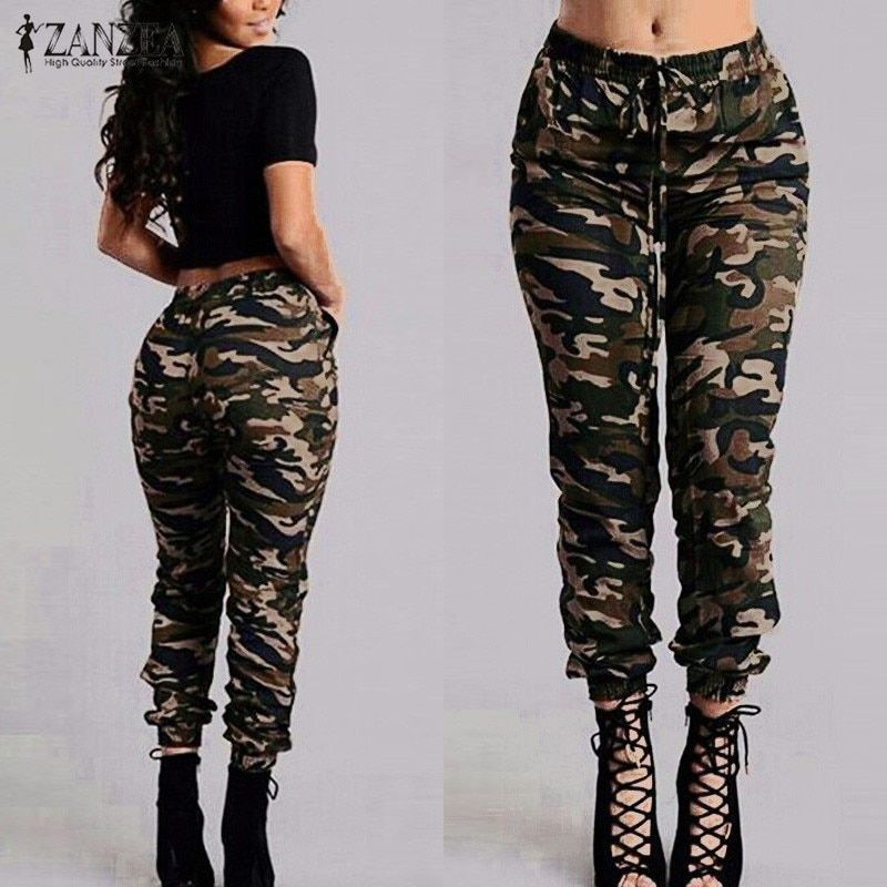 ZANZEA 2018 Camouflage Printed Pants Plus Size S-3XL Autumn Army Cargo Pants Women Trousers Military Elastic Waist Pants