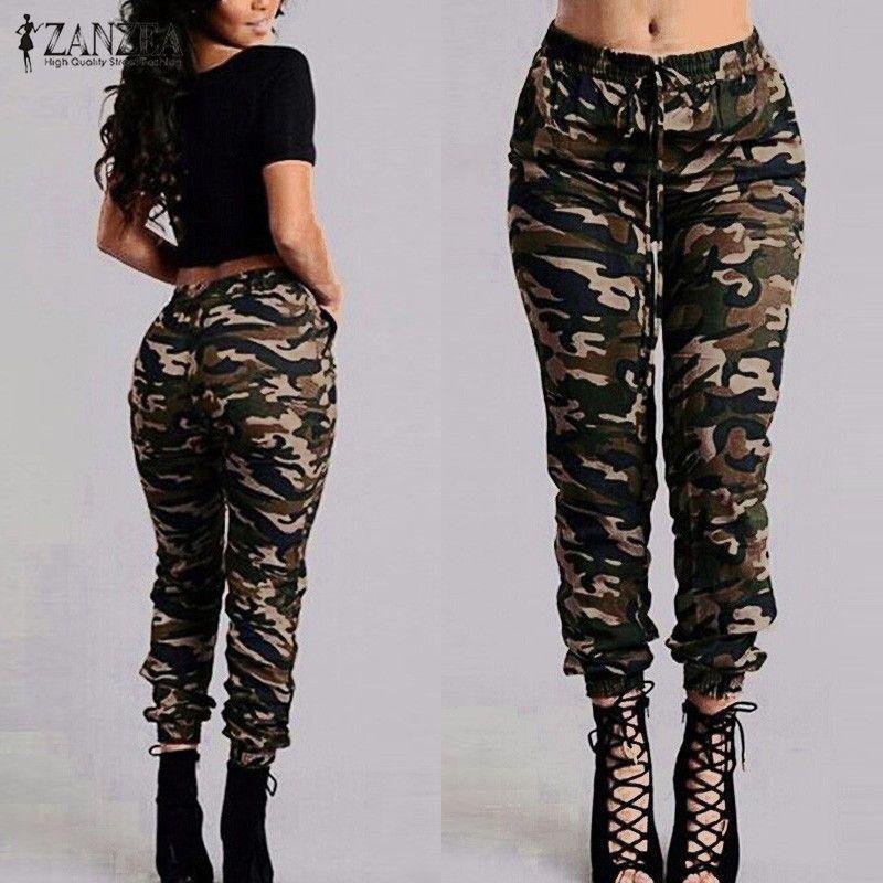 ZANZEA 2018 Camouflage Printed Pants Plus Size S-3XL Autumn <font><b>Army</b></font> Cargo Pants Women Trousers Military Elastic Waist Pants