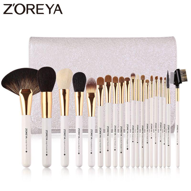 Zoreya Marke 20 stücke Luxus Make-Up Pinsel-sets Super Qualität Tier Haar Nylon Kosmetik Pinsel Professionelle Große Fan Werkzeuge
