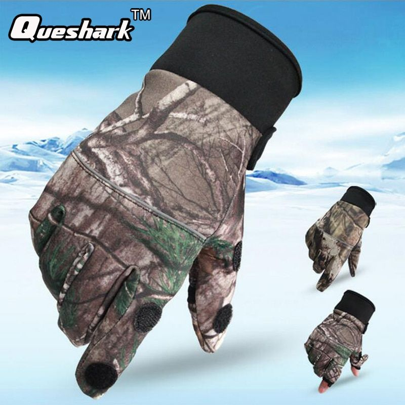 Waterproof Camouflage Touchscreen Hunting Fishing Gloves Windproof Outdoor Sports Bionic Mittens Non-Slip Camo Cycling Gloves