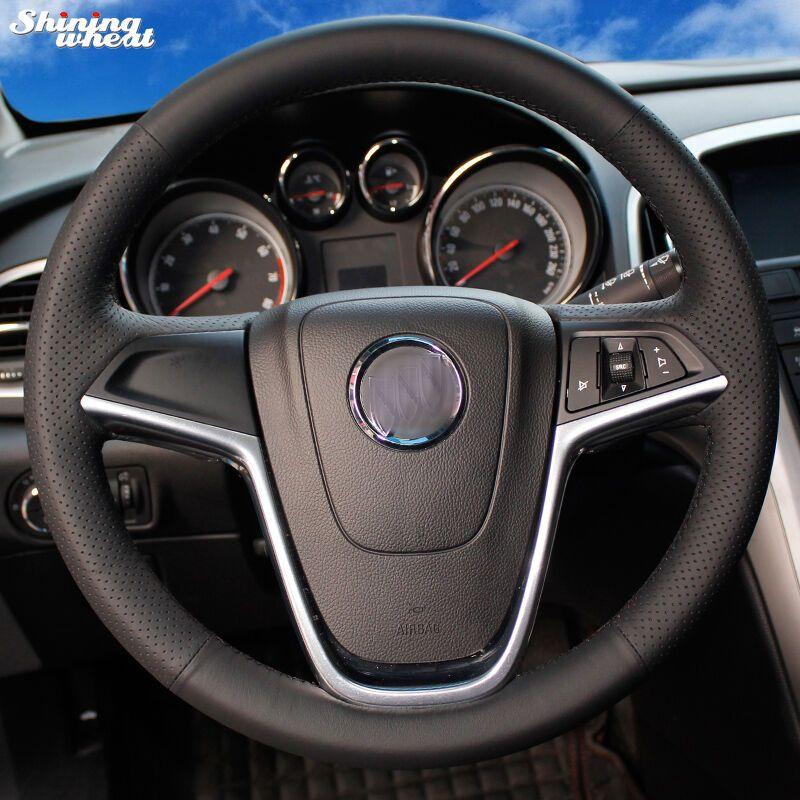 Brillant blé cousu Main Noir En Cuir Couverture De Volant de Voiture pour Buick Excelle XT GT Encore Opel Mokka