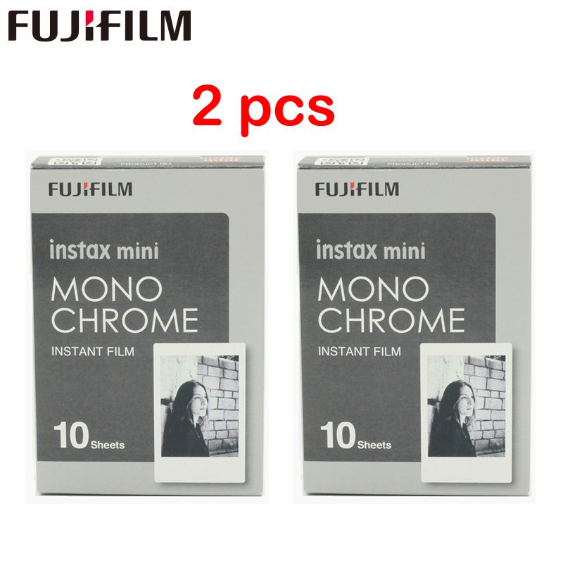 2 pcs Nouveau Fujifilm Fuji Instax Mini 8 Film Monochrome 10 pcs Pour Mini 8 7 s 7 50 s 50i 90 25 dw Partager SP-1 Instant Photo caméra