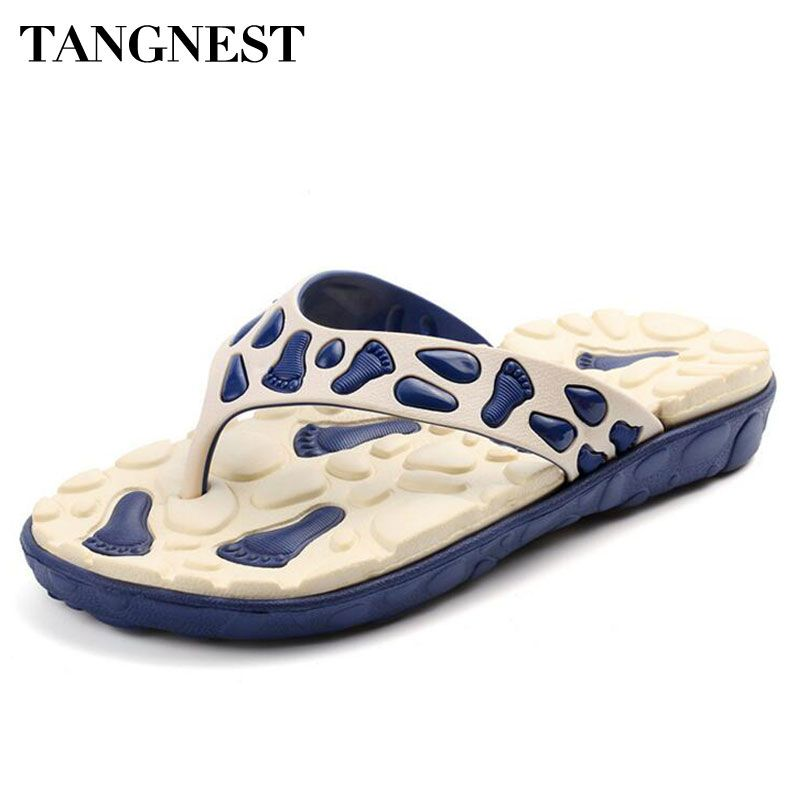 Tangnest Verano Hombres Hombres Zapatillas De Masaje Antideslizantes Chanclas Zapatos Casuales de Playa Comodidad Slip-on Plataforma sandalias de Hombre XMT207