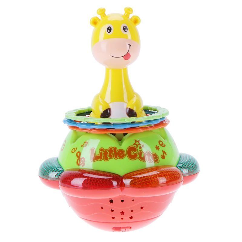 Sonajeros Tambor Muñeca Juguetes Lindos Del Bebé de Bell Color Musical Luz de Proyección de Educación Temprana Del Bebé Jirafa Juguete Vaso de Regalo