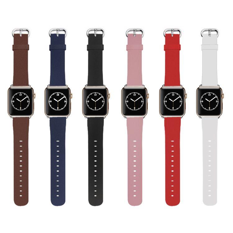 Настоящее Пояса из натуральной кожи ремешок для часов Ремешок Браслет замена с металлической адаптер для Apple Watch iwatch 38 мм 42 мм серии 1 2