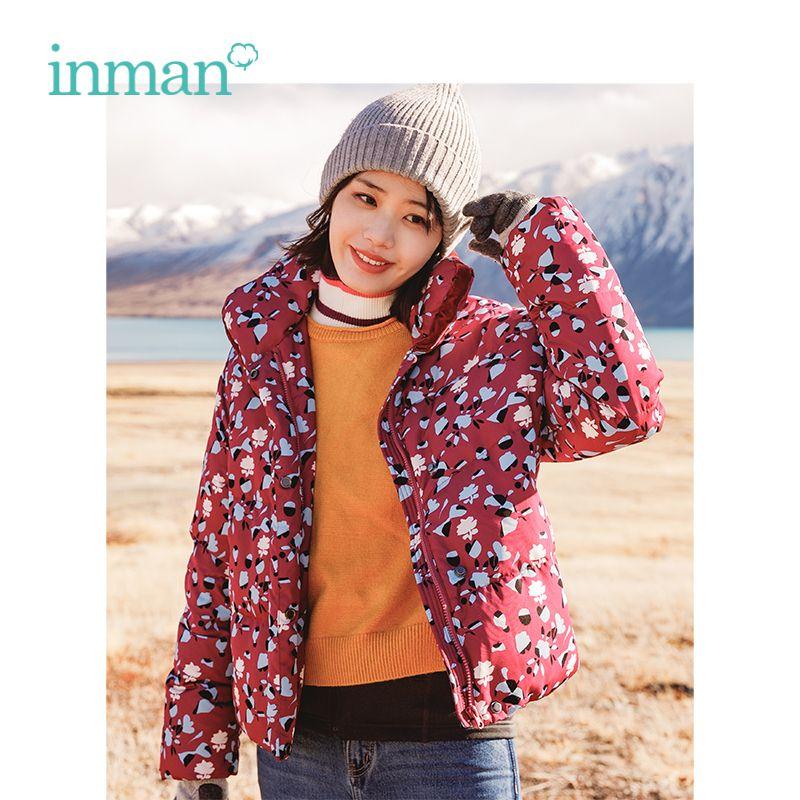 INMAN Winter Drehen Unten Kragen Kontrast Farbe Lose Stil Floral Kurze Frauen Unten Mantel