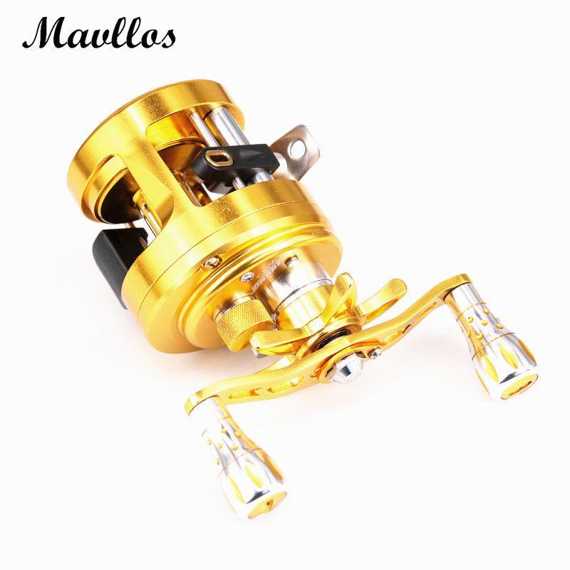 Mavllos Gold V Shape Deep Profile Round Baitcasting Reel Right Hand Metal Body 6.4:1 Ratio Saltwater Trolling Drum Fishing Reel
