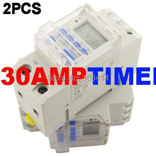 Livraison gratuite SINOTIMER 30AMP charge 220V Programmable minuterie numérique interrupteur relais de temps pour éclairage de LED de charge haute puissance