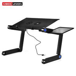 Magic Union aleación de aluminio Mesa portátil plegable soporte de escritorio con ventilador portátil cama bandeja escritorio estudio teórico