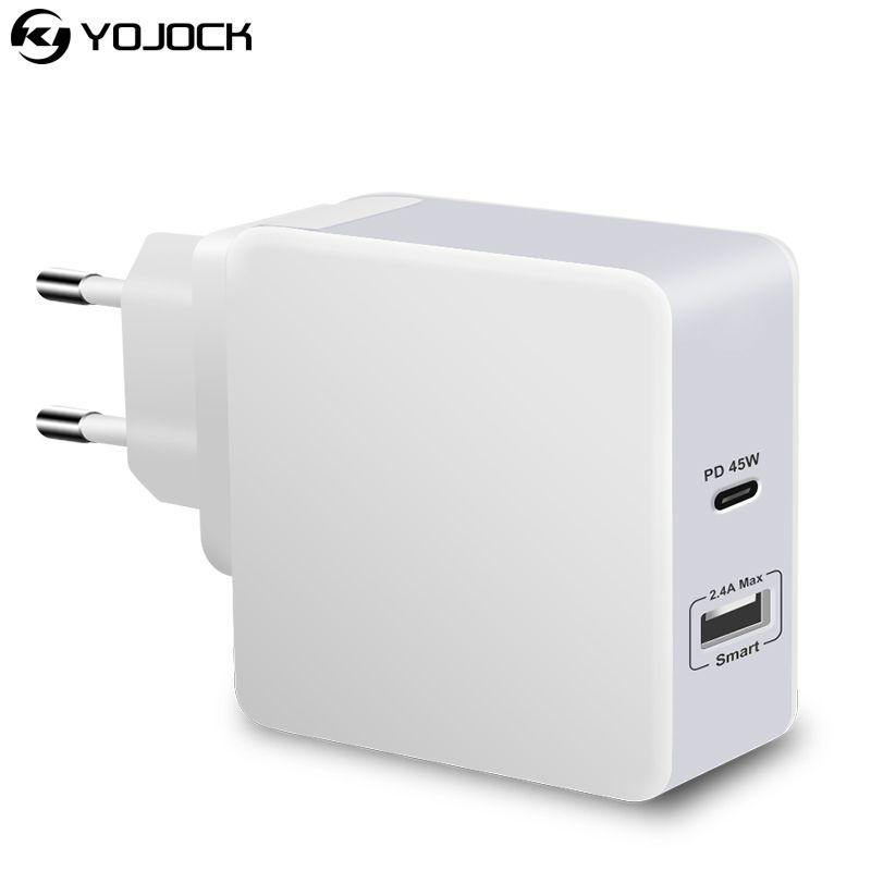 UL Certification PD USB C Chargeur 45 W Rapide USB Chargeur Mural adaptateur Voyage Pour iPhone X Samsung Xiaomi Chargeur de Téléphone Rapide QC3.0