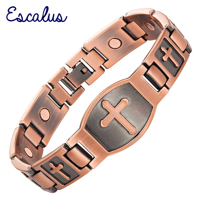 Escalu Men Cross Pattern Antique Copper Magnetic Bracelet Christian Fashion Bangle Jewelry Jesus Christ Wristband <font><b>Charm</b></font>