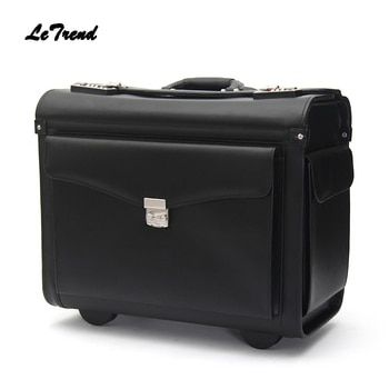 Letrend Genuine Leather Pilot Rolling Luggage Casters Cabin Wheel Suitcases Captain Travel Bag 18 inch Business Carry On Trolley