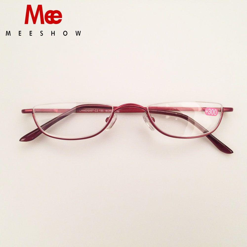 MEESHOW lunettes de lecture en acier inoxydable femme lunettes de lecture demi-jante hommes lunettes avec dioptrie + 1.25 + 1.75 + 2.25 + 3.5 + 4.0