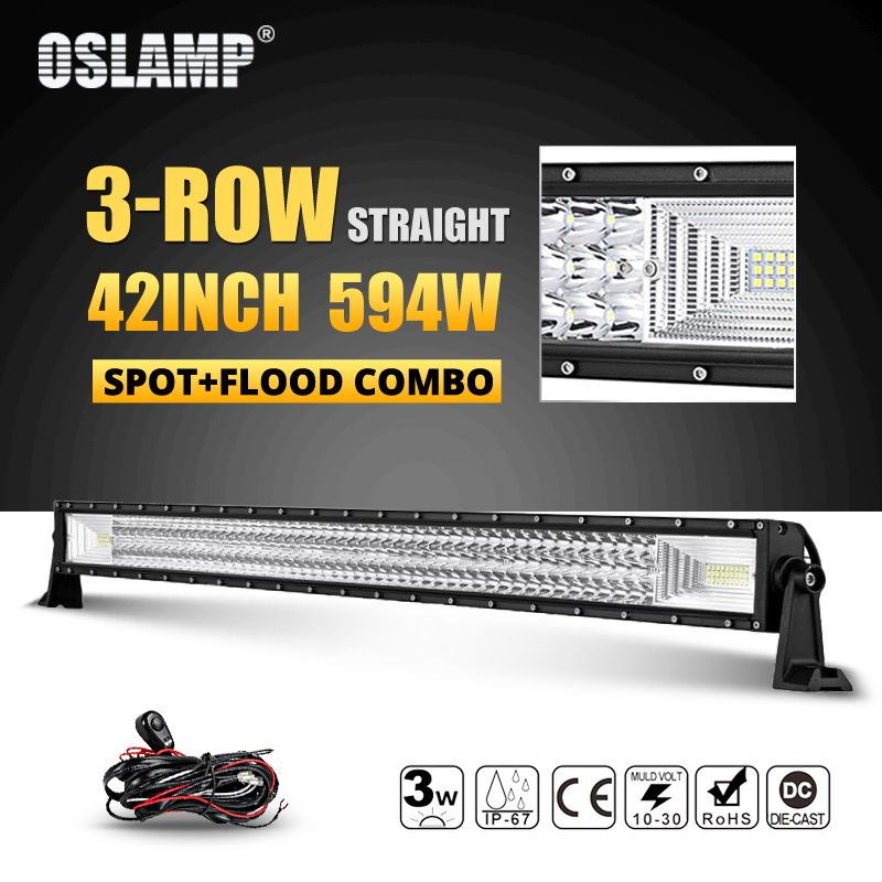 Oslamp 42inch 594W Tri-row LED Offroad Light Bar Led Work Light Combo Beam DC12v 24v Truck SUV 4WD 4x4 Offroad Led Bar Lights