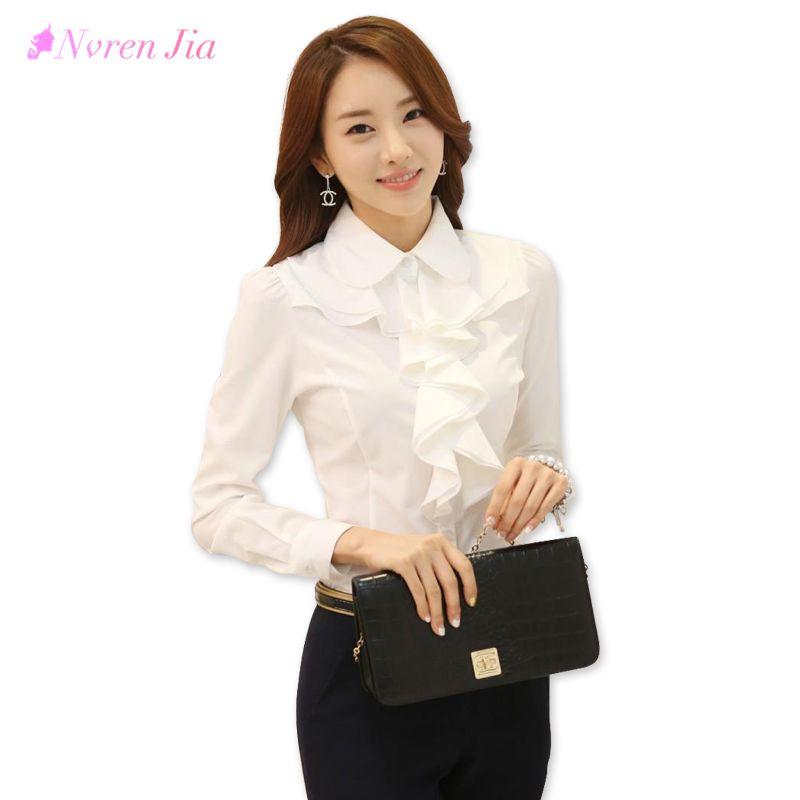 2018 Fashion Korean Style Office Work Wear Fashion Elegant Ruffles Long Sleeve Women White Blouse Tops Black Lady Bodysuit Shirt