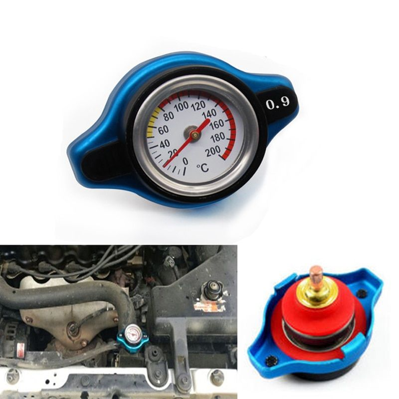 Blue 0.9 BAR Thermostatic Radiator Cap Pressure Rating Temperature Meter Gauge Small Head for Honda Accord Civic del Sol
