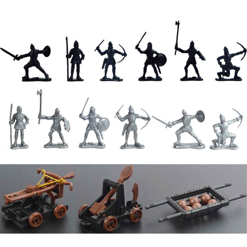 12 Ancient Toy Soldiers & 3 Toy Chariot Catapult Ballista Weapons Set
