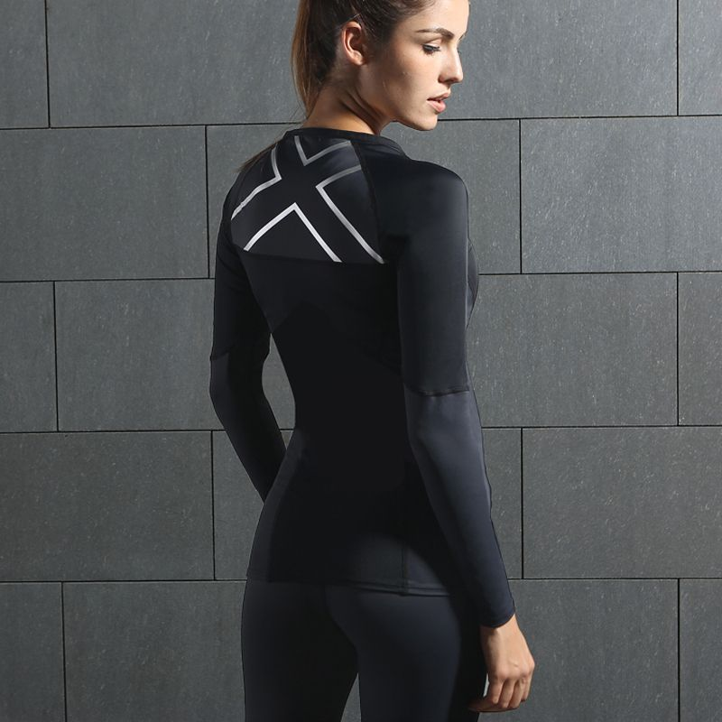 2017 NEW WOMEN'S ELITE COMPRESSION L/S TOP fast-drying long-sleeved tights fitness uniforms running t-shirt training clothes